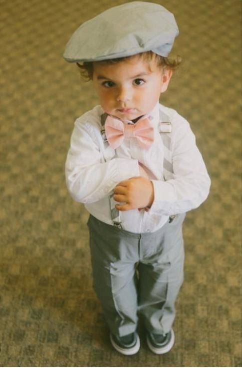 Ring Bearer Outfit; 4 Piece Set, Cotton Ring Bearer Bow Tie, Ring Bearer Suspenders, Newsboy Hat and Pants. Wedding Outfit for Ringbearer
