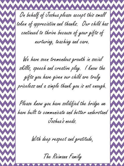 Thank you note for teachers and therapists. | Classroom | Pinterest ...