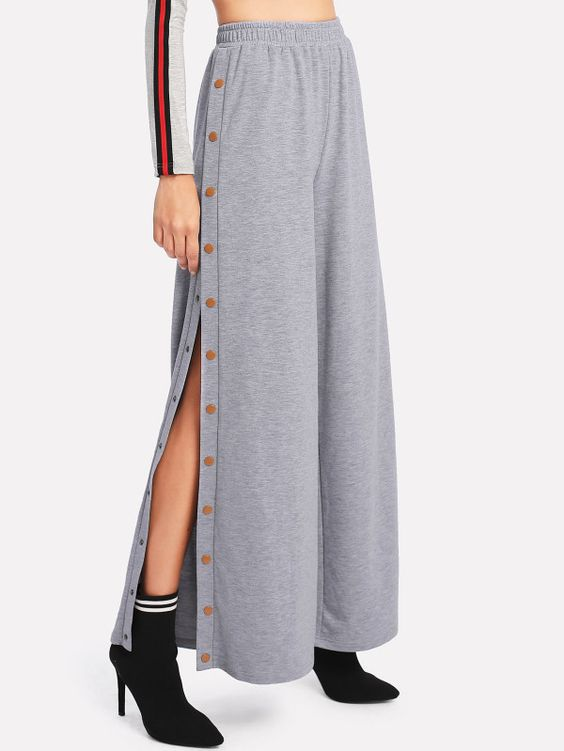Snap Button Slit Side Marled Pants -SheIn(Sheinside)