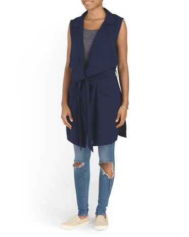 Juniors Oversized Belted Vest: