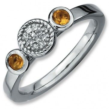 Sterling Silver Stackable Expressions Db Round Citrine & Diamond Ring