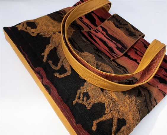 Wild Horses Tapestry and Vegan Leather Tote Purse