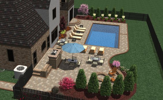 3d pool patio and furniture layout landscape designs for Pool layout design