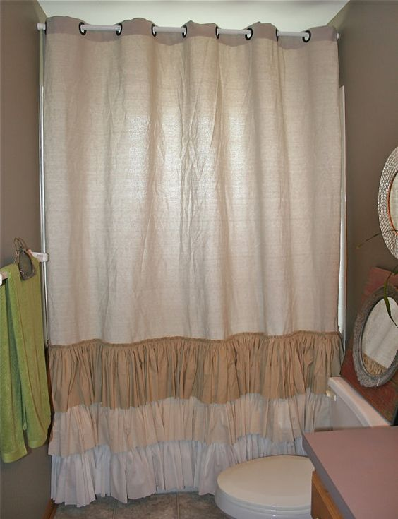 Shabby Chic Shower Curtain Ruffled Farmhouse Or Beach From Repurposed Drop Cloth Painters Cloth