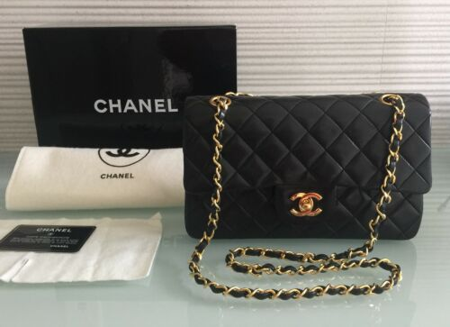 Auth Vintage Chanel 9 Black Lambskin Gold Chain Sz Small Classic Double Flap Chanel Chanel Classic Flap Bags