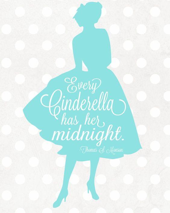 "Free Cinderella Printable via Lolly Jane | ""Every Cinderella has her midnight"""