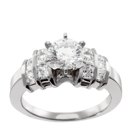14K White Gold 1.96 cts Asscher Cut Lab Created Engagement Ring $1835