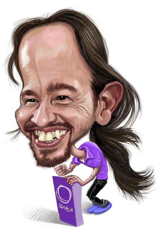 Caricatura de Pablo Iglesias realizada con un programa de retoque fotográfico digital utilizando una tableta gráfica.