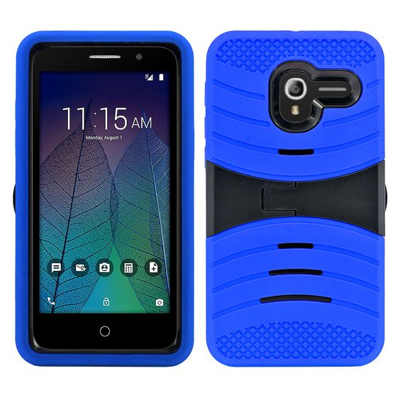 Alcatel Tru / Stellar / 5060 / POP 3 Hybrid Silicone Case Cover Stand Blue