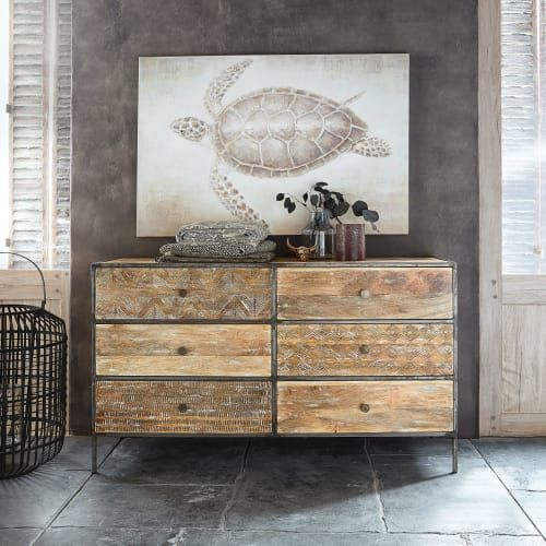 Carved Solid Mango Wood Double 6 Drawer Chest Of Drawers Yaounde Maisons Du Monde Solid Mango Wood 6 Drawer Chest Chest Of Drawers