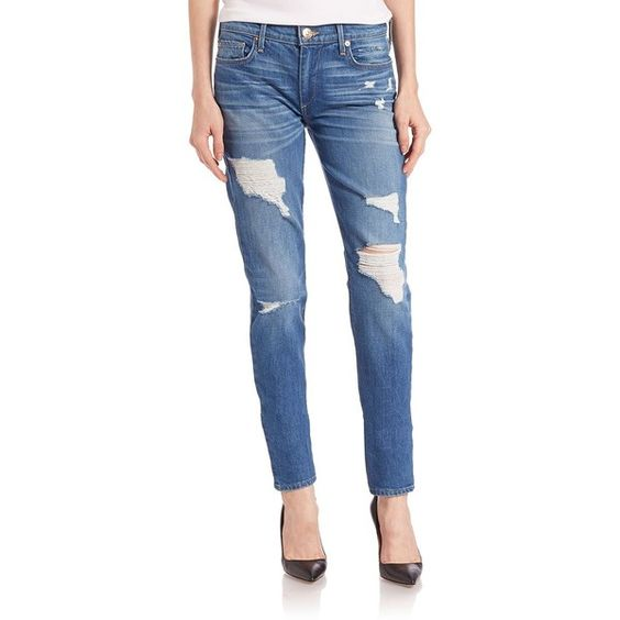 True Religion Halle Distressed Jeans ($230) ❤ liked on Polyvore featuring jeans, apparel & accessories, blue destroy, ripped jeans, distressed jeans, destructed jeans, slim fit jeans and blue ripped jeans