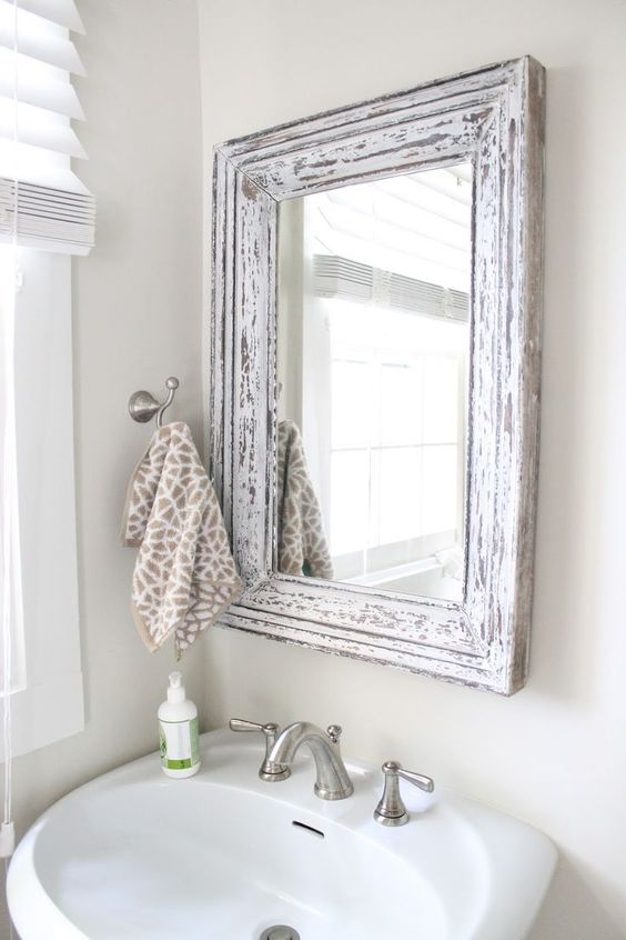 Rustic Bathroom Mirror Use Molding And Distress To Frame Out Mirror Bathroom Makeover