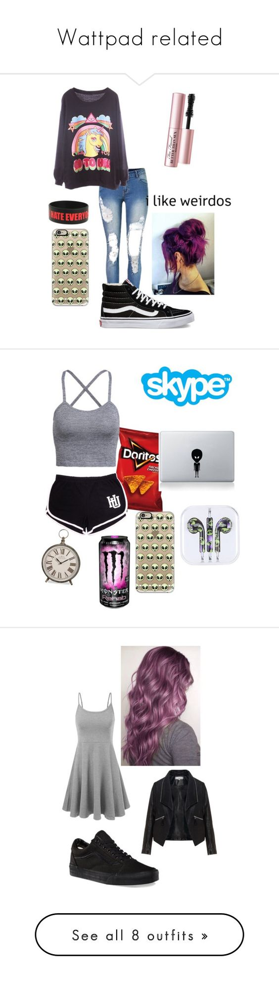 """""""Wattpad related"""" by spacemermaid13 ❤ liked on Polyvore featuring Vans, Too Faced Cosmetics, Casetify, Vinyl Revolution, Zizzi, Converse, Polo Ralph Lauren, Banana Republic, jcp and NIKE"""