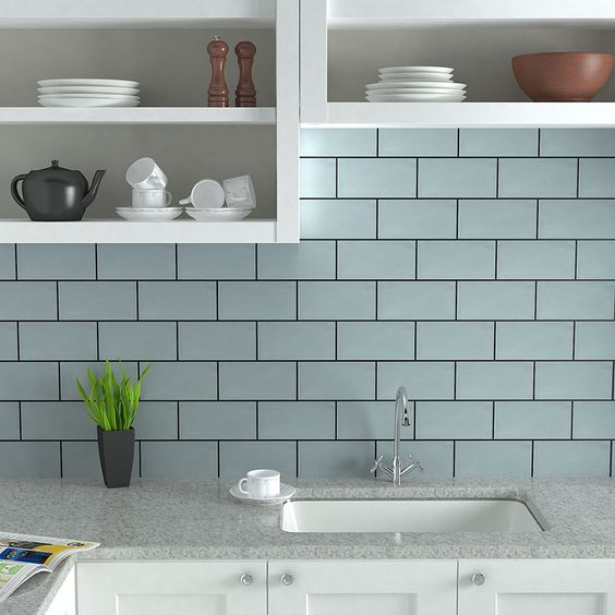 Metro tiles are a popular modern style for kitchens shown for Metro tiles kitchen ideas
