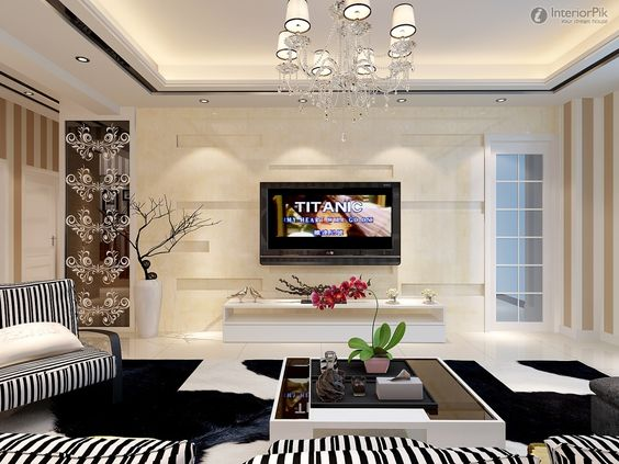 New modern living room tv background wall design pictures for Latest drawing room interiors