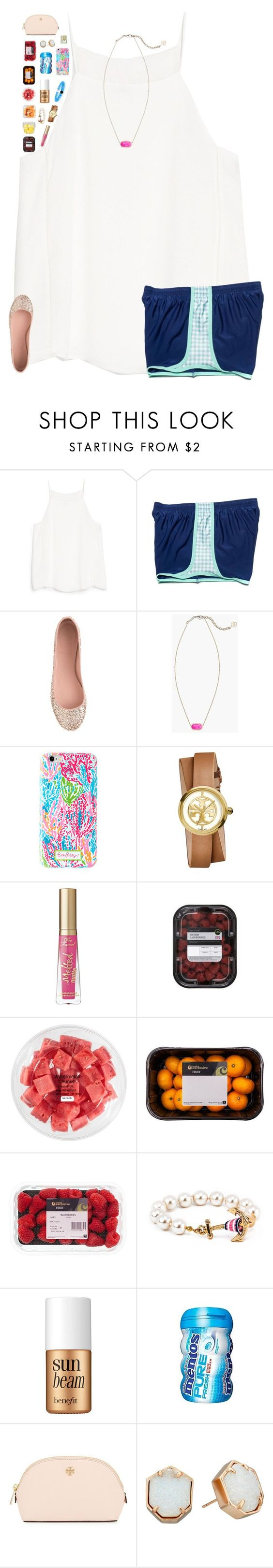 """""""I like fruit 🍉 🍉"""" by breezerw ❤ liked on Polyvore featuring MANGO, J.Crew, Kendra Scott, Tory Burch, Too Faced Cosmetics, FRUIT and Benefit"""