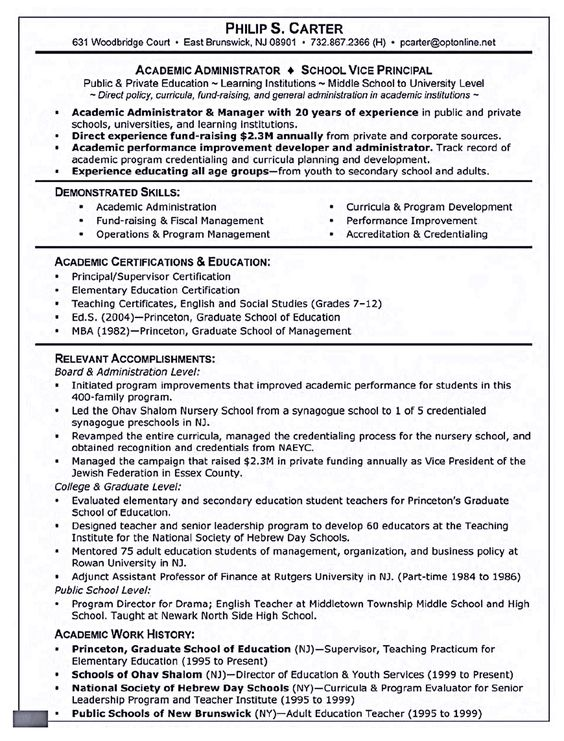 Academic Resume Template Shows You How The Layout Of An Academic