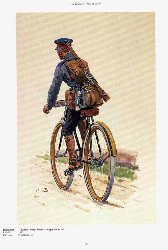 "German; 81st (1st Kurhessian) Infantry ""Landgrave Frederick I of Hesse-Cassel, Cyclist c.1900. Regiment raised in 1813, Home Depot; Frankfurt am Main."