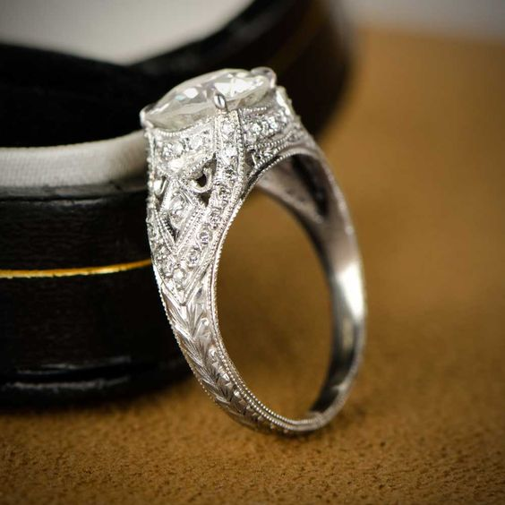 A beautiful Estate Diamond Ring, featuring a bold and lively old European cut diamond.