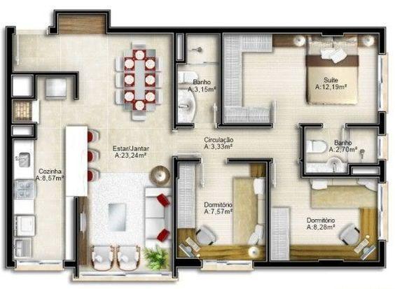 Planta baixa de casas modernas gr tis modelos fotos for Plantas de casas tipo 3 modernas