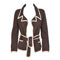 Chanel Iconic Navy with Cream Silk Knit Jacket