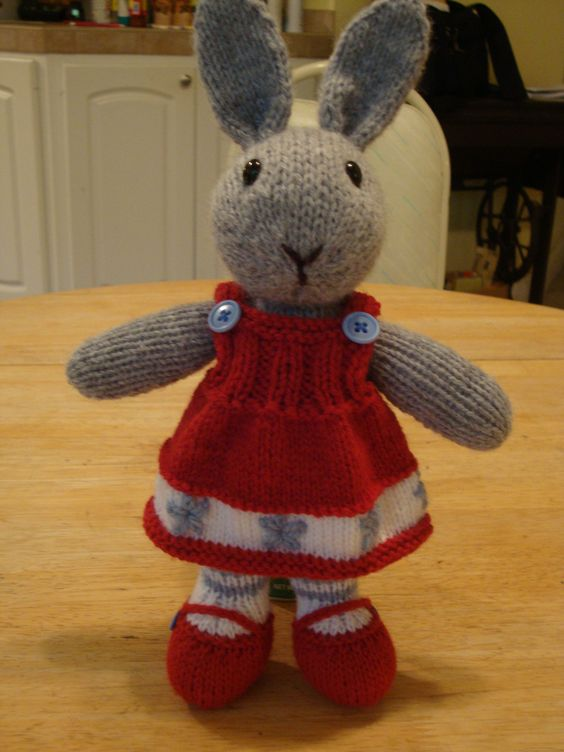 Knitting Patterns For Toy Rabbits : Bunty Bunny... knitted toy rabbit doll-- pattern by Debi Birkin, knitted by m...