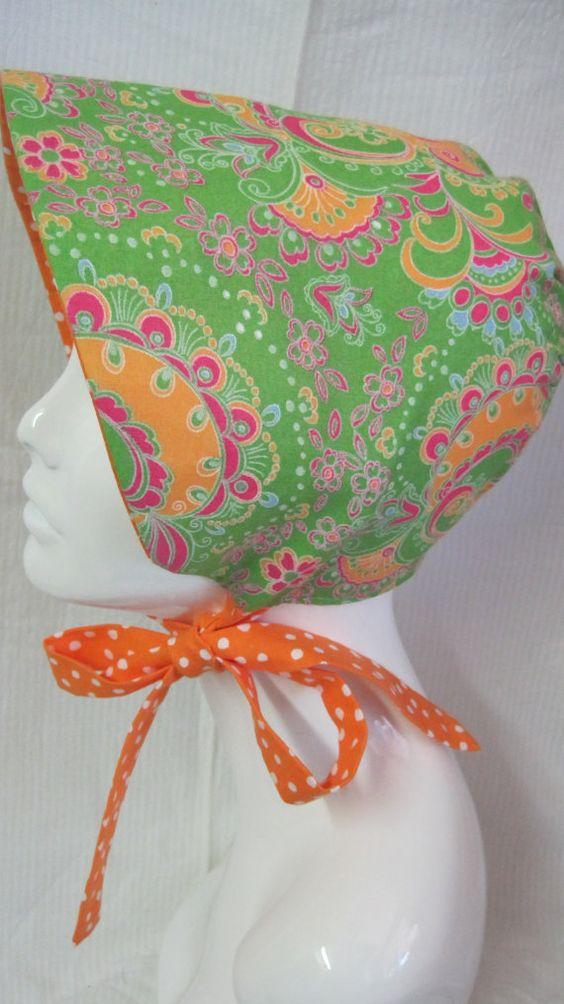 Green Paisley Reversible Baby Sun Bonnet by Cloutseu on Etsy, $25.00