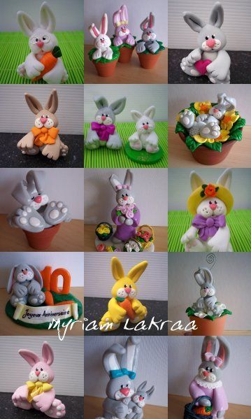Paques lapins p te polym re fimo polymer clay myriam lakraa cr ations p ques easter - Patte de lapin peinture ...