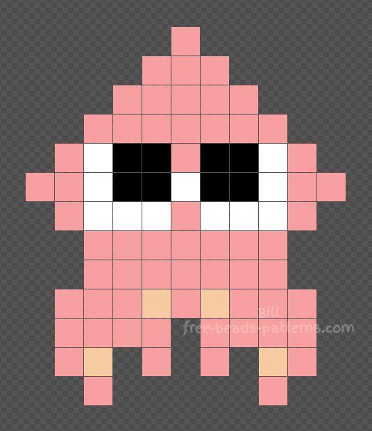 Splatoon Pink Squid Hama Beads Perler Beads 11x13 Melting