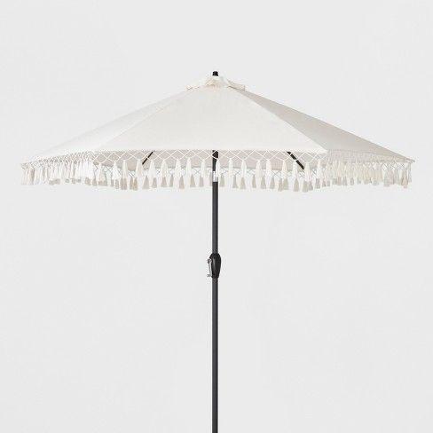 9 round fringed patio umbrella