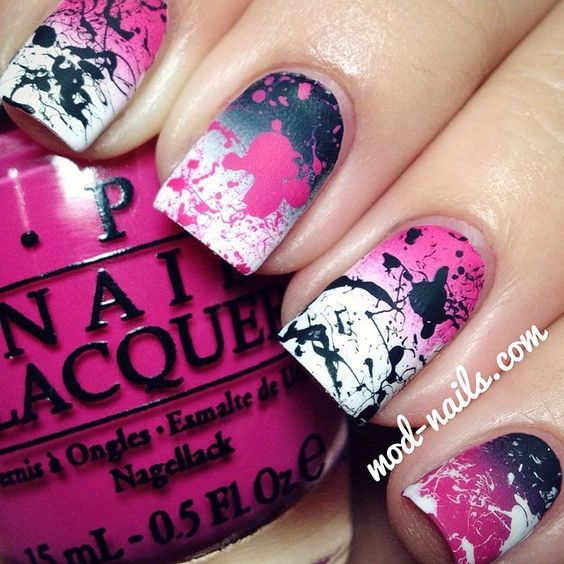 Pink, black, and white gradient splatter nails. Looks fun but time consuming.