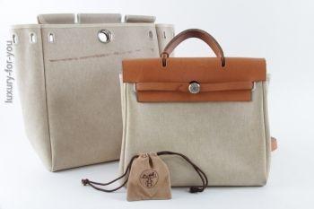 Hermès *HERBAG* Kelly  PM, 2 in 1 Tasche (Rucksack) in Beige
