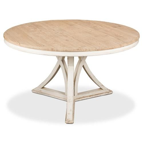 Rustic Round Dining Table, Whitewashed Round Dining Table