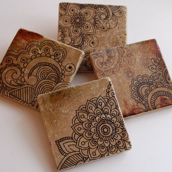 Henna Doodles Coaster Set Indian Moroccan Design