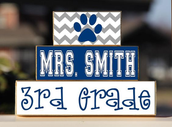 Teacher Sign Personalized -Trio Wood Blocks Stack - Classroom Decor/Gift - Wooden Blocks