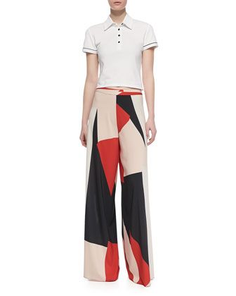 Miller Cropped Polo Shirt & Colorblock Super-Flare Pants by Alice + Olivia at Bergdorf Goodman.