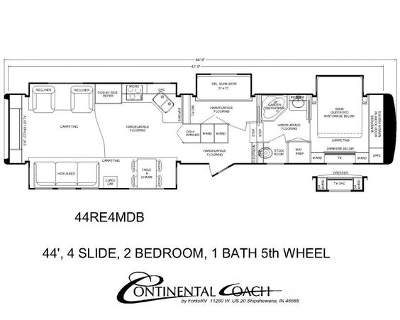 Continental Coach 43  Double Bedroom Floorplans   Trailer travail    Pinterest   Double bedroom  Rv and Rv mods. Continental Coach 43  Double Bedroom Floorplans   Trailer travail