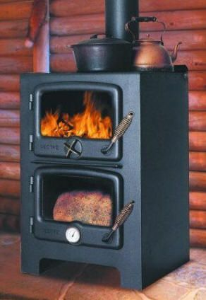 Wood stove and baking oven - all in one. Be still my beating prepper heart
