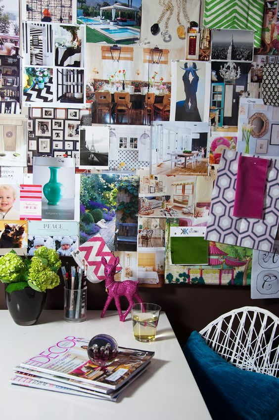 Textiles and LOTS magazine clippings of luxurious interiors. Bright, beautiful colors. This board belongs to interior designer Julie Richard. (Inspiration board/mood board/picture wall, artist studio/office.)