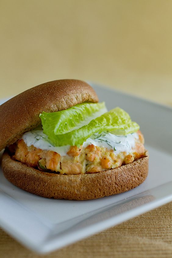 Salmon burgers with yogurt-dill sauce | Recipes to try | Pinterest ...