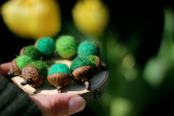Needle Felted Woodland Moss Acorns Set of 8 / Home by Willowfolk, $15.00