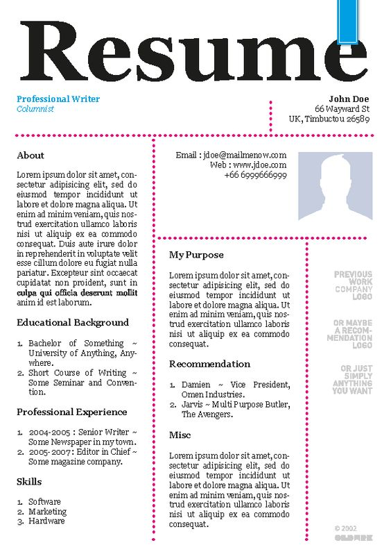 Free creative professional resume template example Creative - columnist resume 2