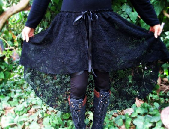 Women's high low lace skirt victorian gothic romantic fashion steampunk edwardian mystic goth gothic long black lace bellydance skirt   US$10