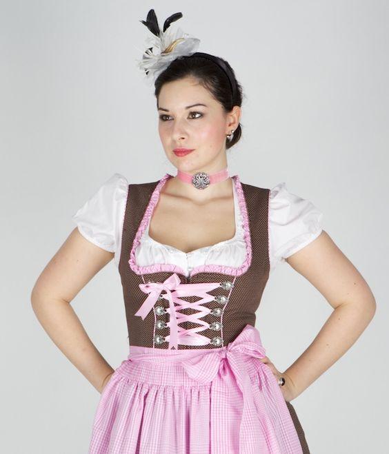 dirndl | KRÜGER MADL-DIRNDL Ein tolles 60er Dirndl in braun rosa Die Schürze ...