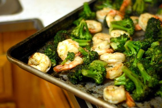 Super easy roasted broccoli with shrimp