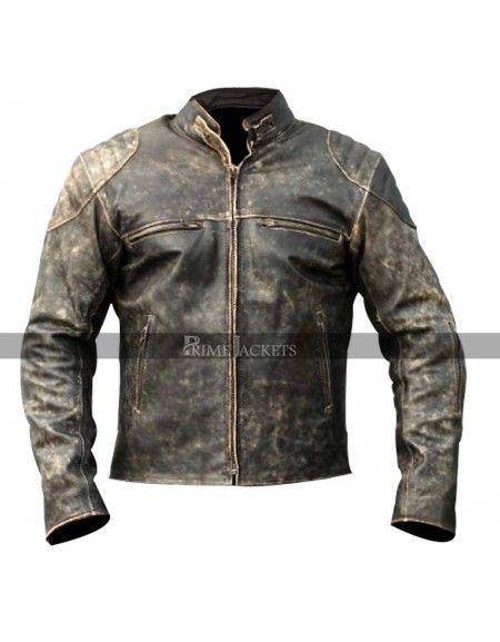 Mens Antique Vintage Distressed Retro Motorcycle Biker Real Leather Jacket