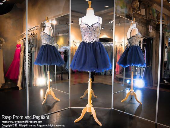Navy Sweetheart Short Homecoming Dress