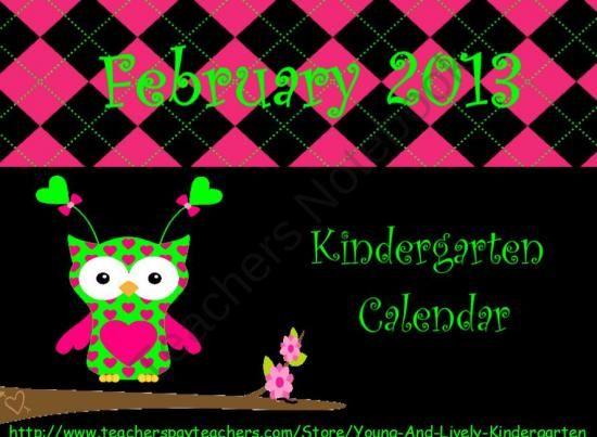 Kindergarten Calendar For Promethean Board : February kindergarten calendar for activboards product