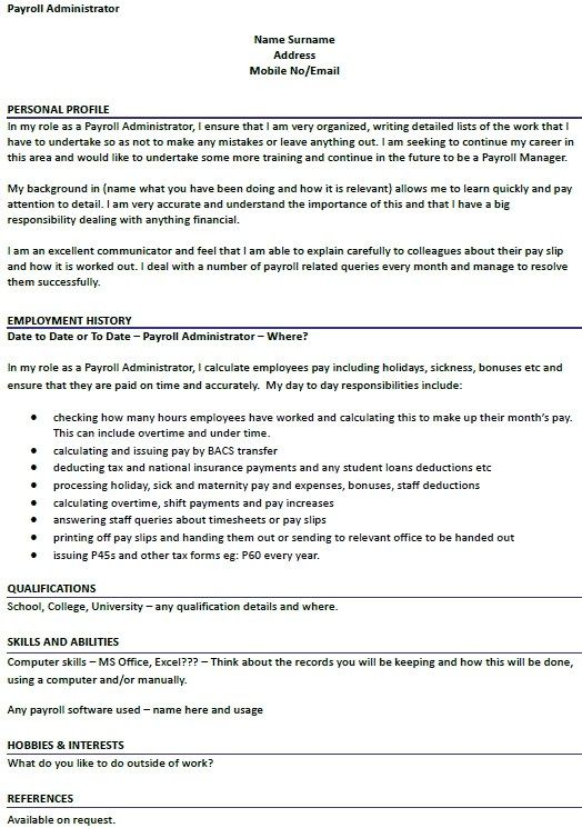 Payroll Administrator Cv Example Icoveruk In 2020 Professional Resume Examples Sample Resume Resume Examples