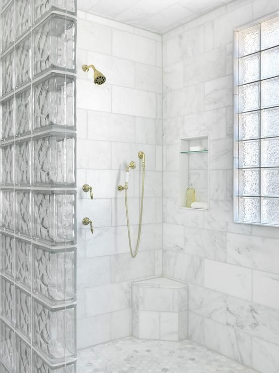 A Glass Block Shower Partition Accents A Walk In Shower Fitted